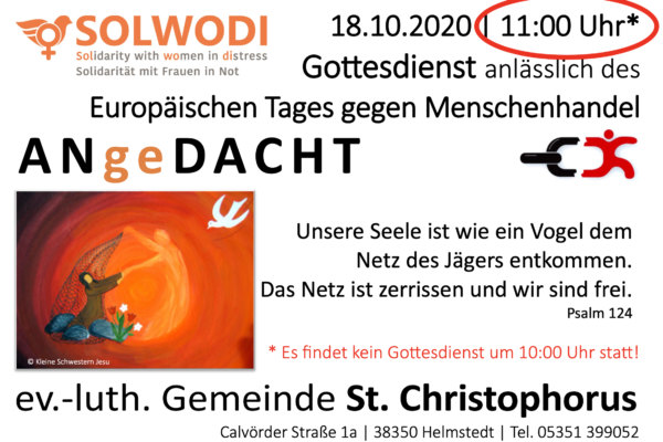 Gottesdienst zum Europäischen Tag gegen Menschenhandel am 18.10.2020